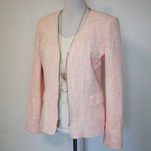 ANNE KLEIN Size 10 Pink Ivory Tweed Blazer Jacket